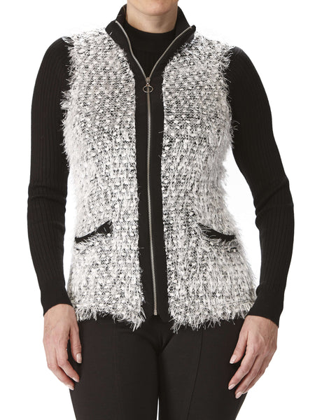 Women's Sleeveless Vest - Black And White - Made In Canada