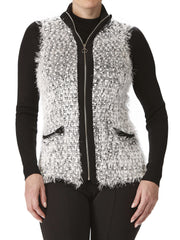 Women's Sleeveless Vest - Black And White - Made In Canada - Yvonne Marie - Yvonne Marie