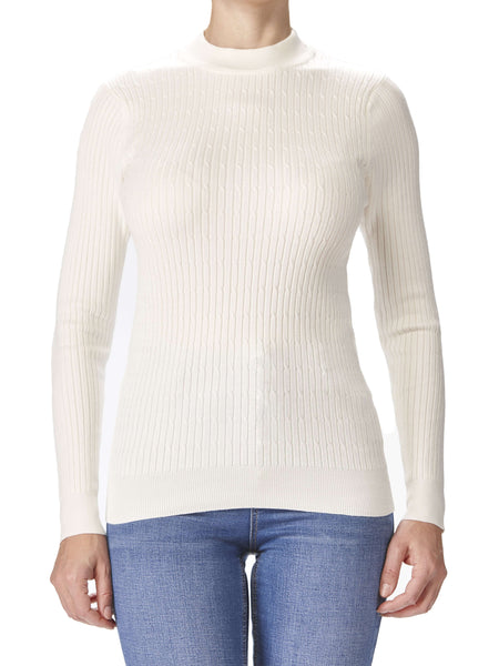 Women's Off White Ribbed Mock Neck Sweater