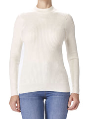 Women's Off White Ribbed Mock Neck Sweater - Yvonne Marie - Yvonne Marie