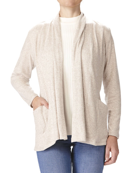 Woman's Beige Cardigan With Pockets - Made In Canada