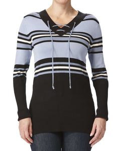 Women's Sweaters on Sale Denim Blue Stripes - Yvonne Marie - Yvonne Marie