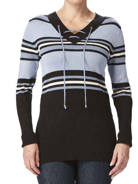 Women's Sweaters on Sale Denim Blue Stripes