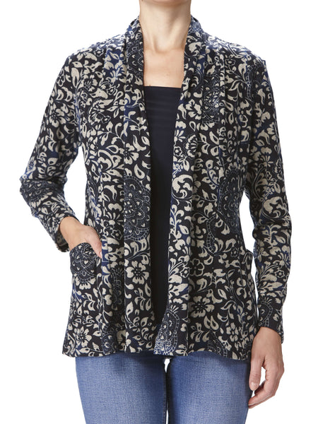 Women's Blue Printed Cardigan With Pockets