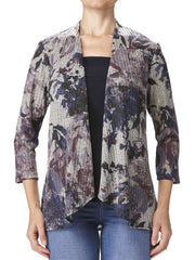 Women's Denim And Mauve Printed Cardigan - Yvonne Marie - Yvonne Marie