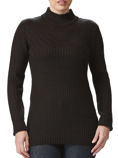 Women's Black Mock Neck Sweater On Sale Pointelle Detail