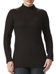 Women's Black Mock Neck Sweater On Sale Pointelle Detail - Yvonne Marie - Yvonne Marie