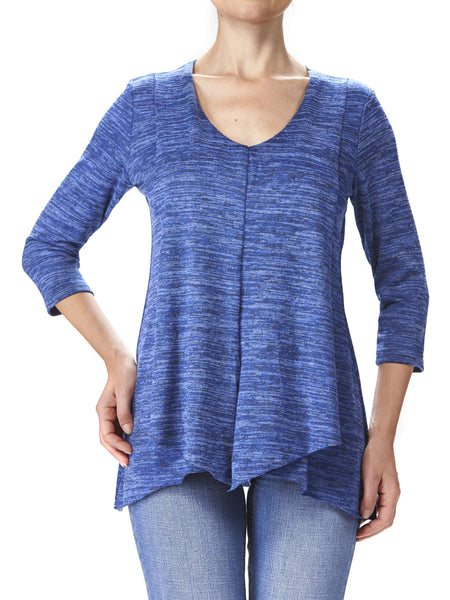 Women's Blue Tunic Top Flattering Flyaway Style - Made in Canada