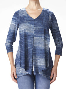 Women's Denim Knit Flyaway Tunic Top -Made in Canada - Tops - Yvonne Marie