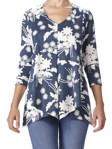 Women's Denim And White Flyaway tunic Top