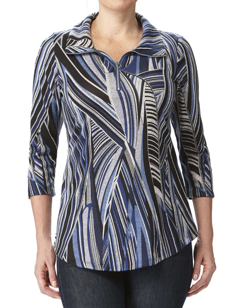 Women's Blue Printed Top Made In Canada
