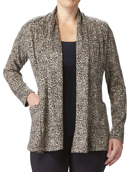 Women's Tan Printed Cardigan With Pockets