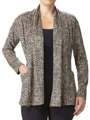 Women's Tan Printed Cardigan With Pockets - Yvonne Marie - Yvonne Marie