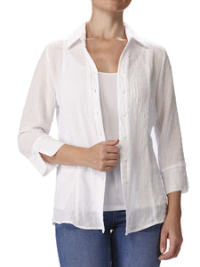 Women's White Blouse- Great Fit and Washable -Made In Canada Shop Local - Yvonne Marie - Yvonne Marie