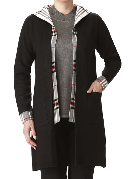 Women's Long Black Cardigan With Plaid Contrast