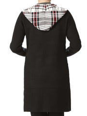 Women's Long Black Cardigan With Plaid Contrast - Yvonne Marie - Yvonne Marie