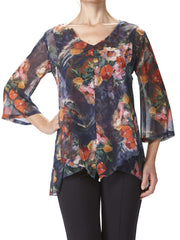 "Women's Blouses Canada-Shop Local-Navy Floral Flattering ""Flyaway"" Blouse"" - Yvonne Marie - Yvonne Marie"