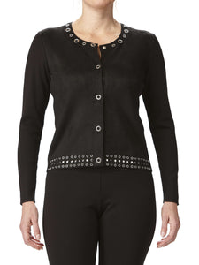 Women's Jacket Black washable Suede with Eyelet Details - Yvonne Marie - Yvonne Marie
