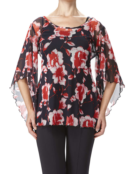 Women's Tops On Sale - Red And Navy Floral Print - Made in Canada