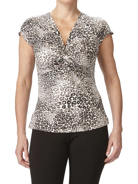 Women's Tops On Sale - Animal Print Twist Front - Made in Canada