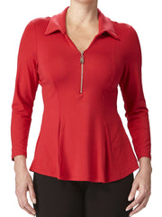 Women's Blouse Red with Zip Front Flattering Fit - Made in canada - Yvonne Marie - Yvonne Marie