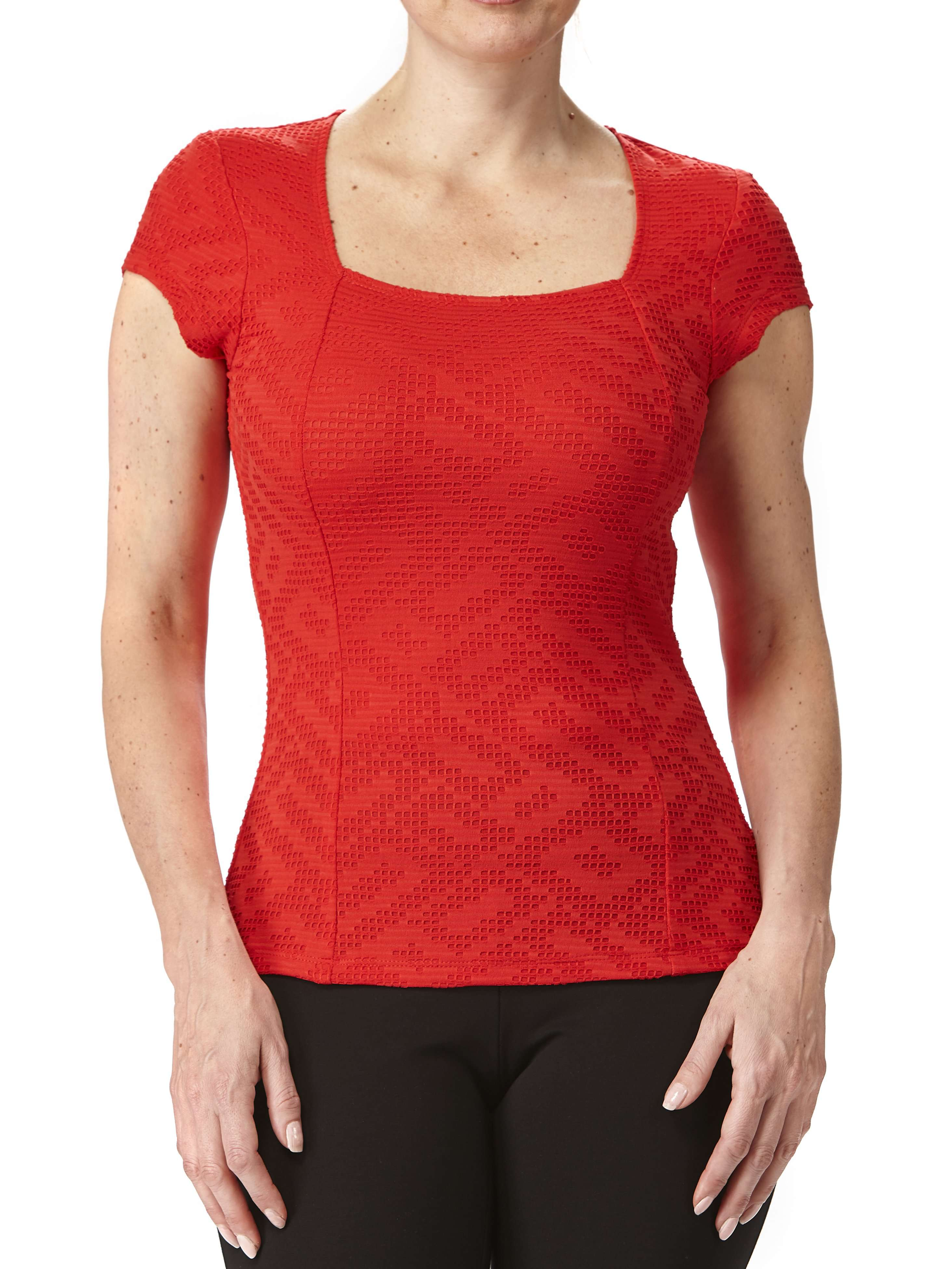 Women's Red Square Neck Top On Sale - Yvonne Marie - Yvonne Marie