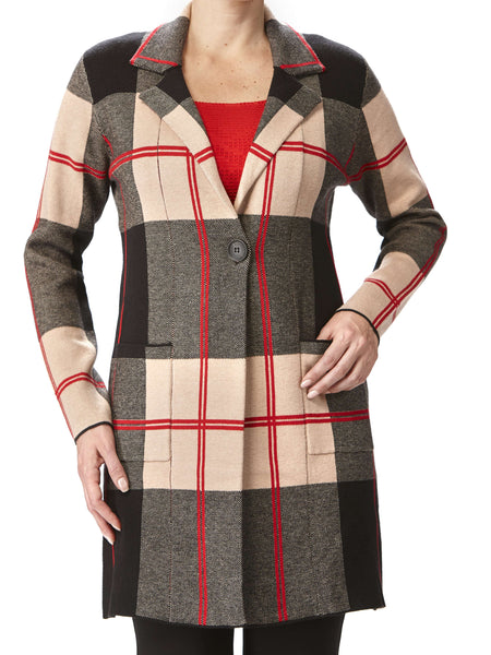 Women's Long Cardigan - Tan Plaid - XXL Sizes
