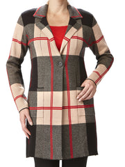 Women's Long Cardigan - Tan Plaid - XXL Sizes - Yvonne Marie - Yvonne Marie
