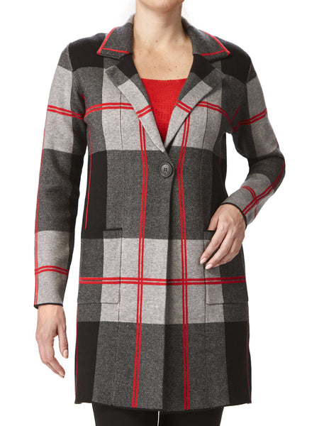 Women's Long Cardigan -Charcoal Plaid - XXL Sizes