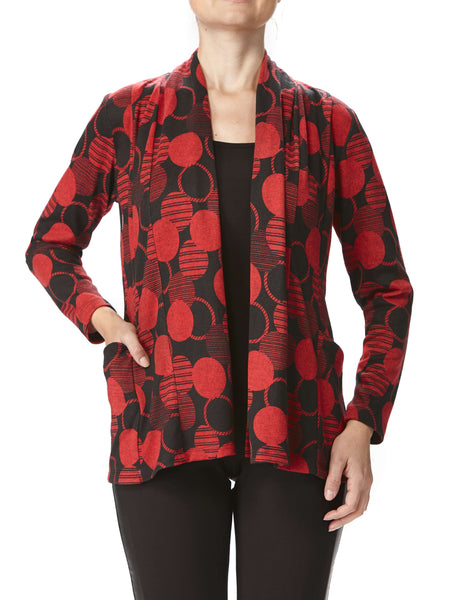 Women's Red Printed Cardigan With Pockets