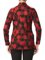 Women's Red Printed Cardigan With Pockets - Yvonne Marie - Yvonne Marie