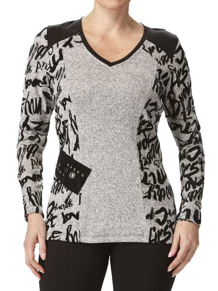 Women's Tops Made in Canada Silver with Print Nice Details XLarge Sizes