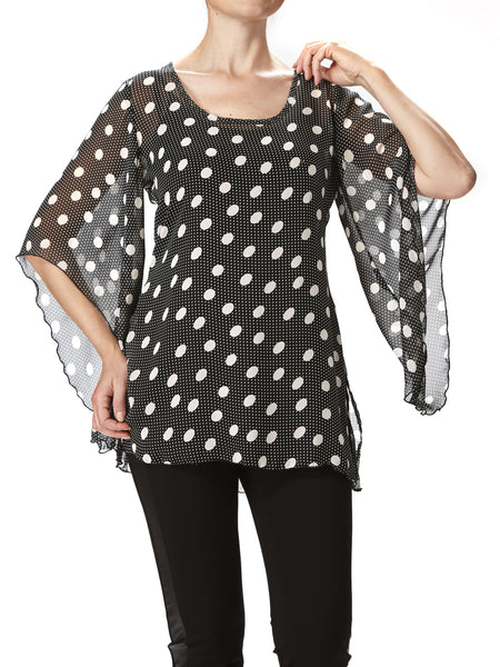 Women's Tops On Sale - Black Polka Dot Top - Made In Canada