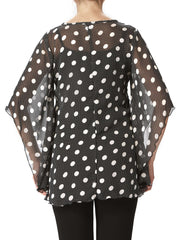 Women's Tops On Sale - Black Polka Dot Top - Made In Canada - Yvonne Marie - Yvonne Marie