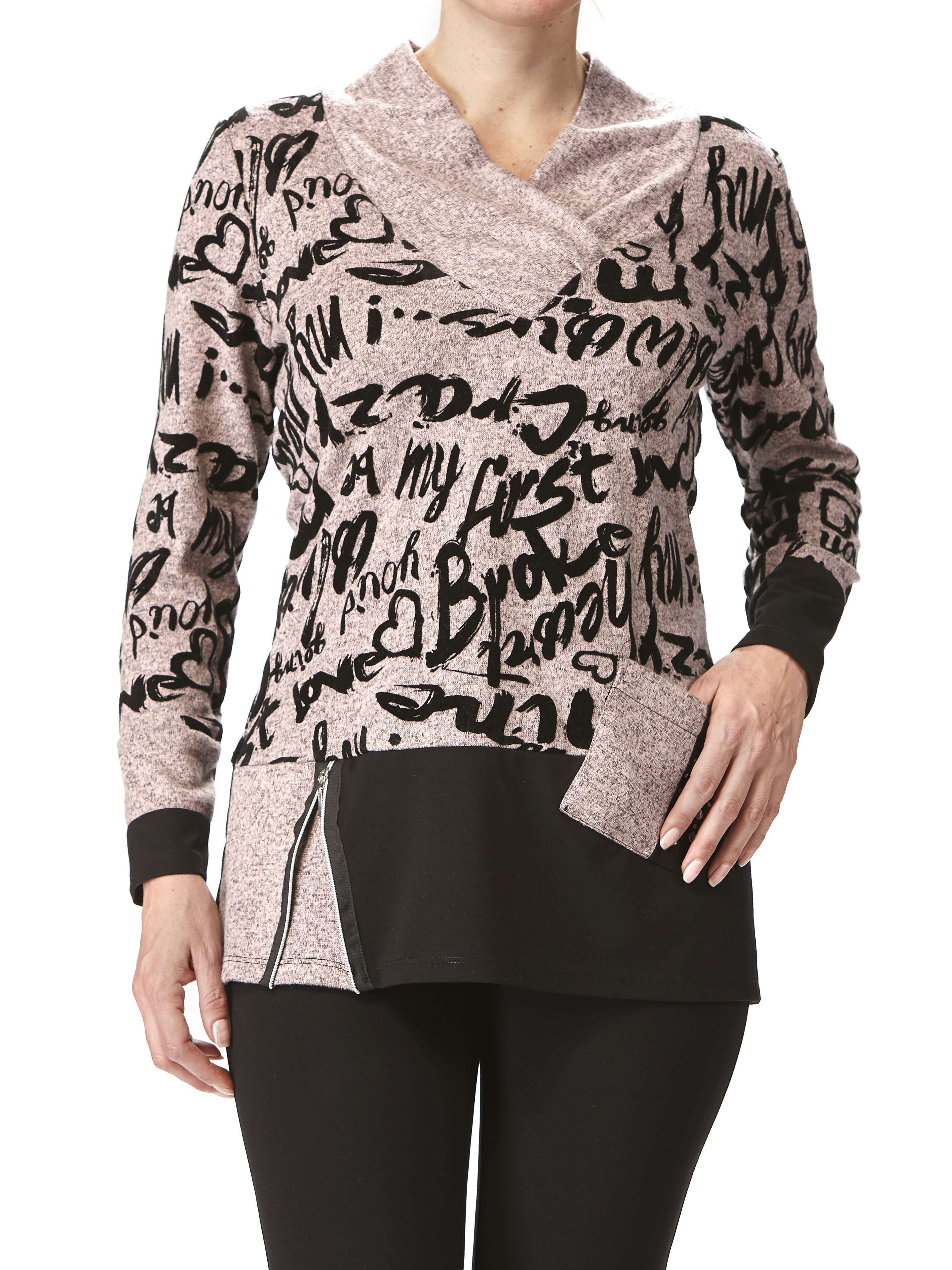 Women's Tops Made in Canada Rose and Black Print Flattering Fit - Yvonne Marie - Yvonne Marie