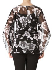 Women's Tops On Sale - Black And White Floral top - Made in Canada - Tops - Yvonne Marie