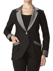 Women's Black Denim Jacket With Pockets - Yvonne Marie - Yvonne Marie