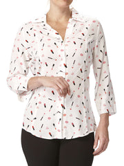 Women's White Printed Designer Blouse-Made In Canada-Shop Local - Yvonne Marie - Yvonne Marie