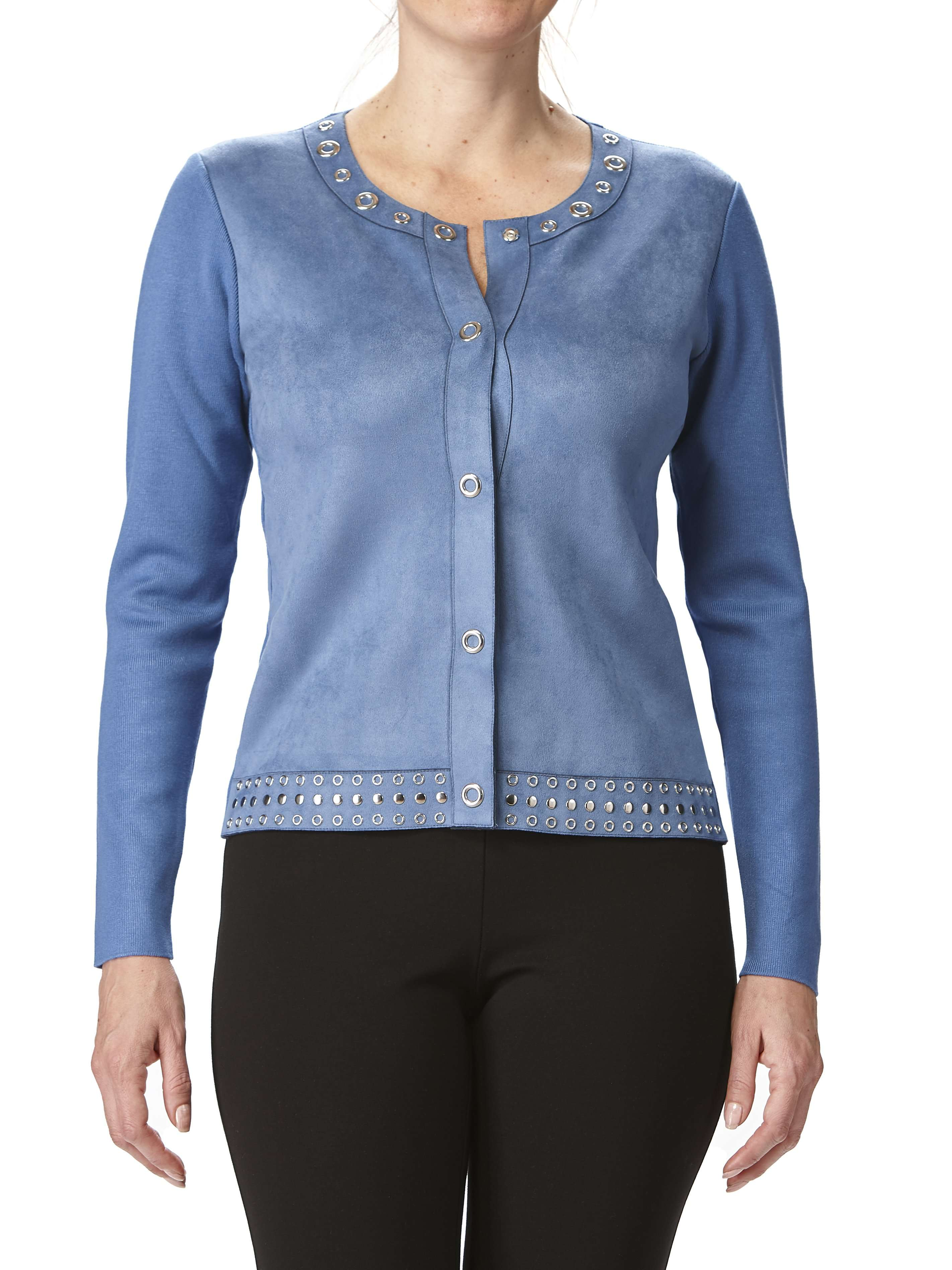 Women's Blue Suede Jacket With Eyelets - Yvonne Marie - Yvonne Marie
