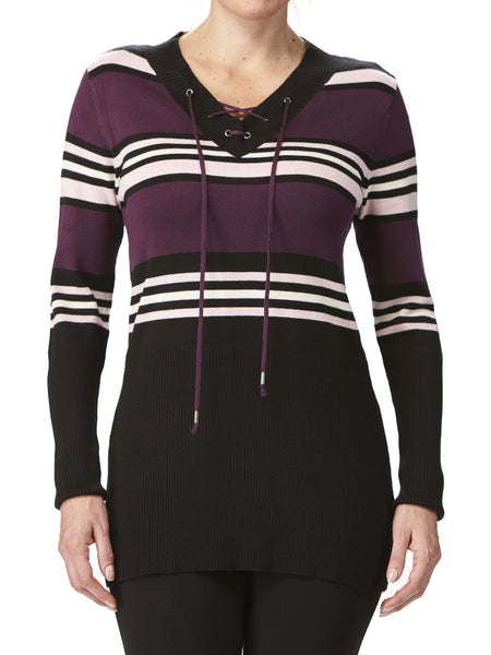Women's Sweaters on Sale Purple Stripes