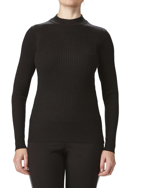 Women's Black Ribbed Mock Neck Sweater
