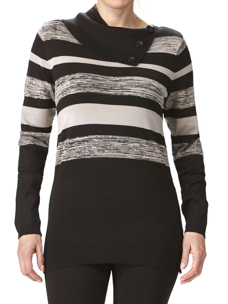 Women'S Sweaters On Sale - Grey Stripe Cowl Neck