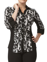 Women's Blouse Black And White Flattering Design Made in Canada - Yvonne Marie - Yvonne Marie