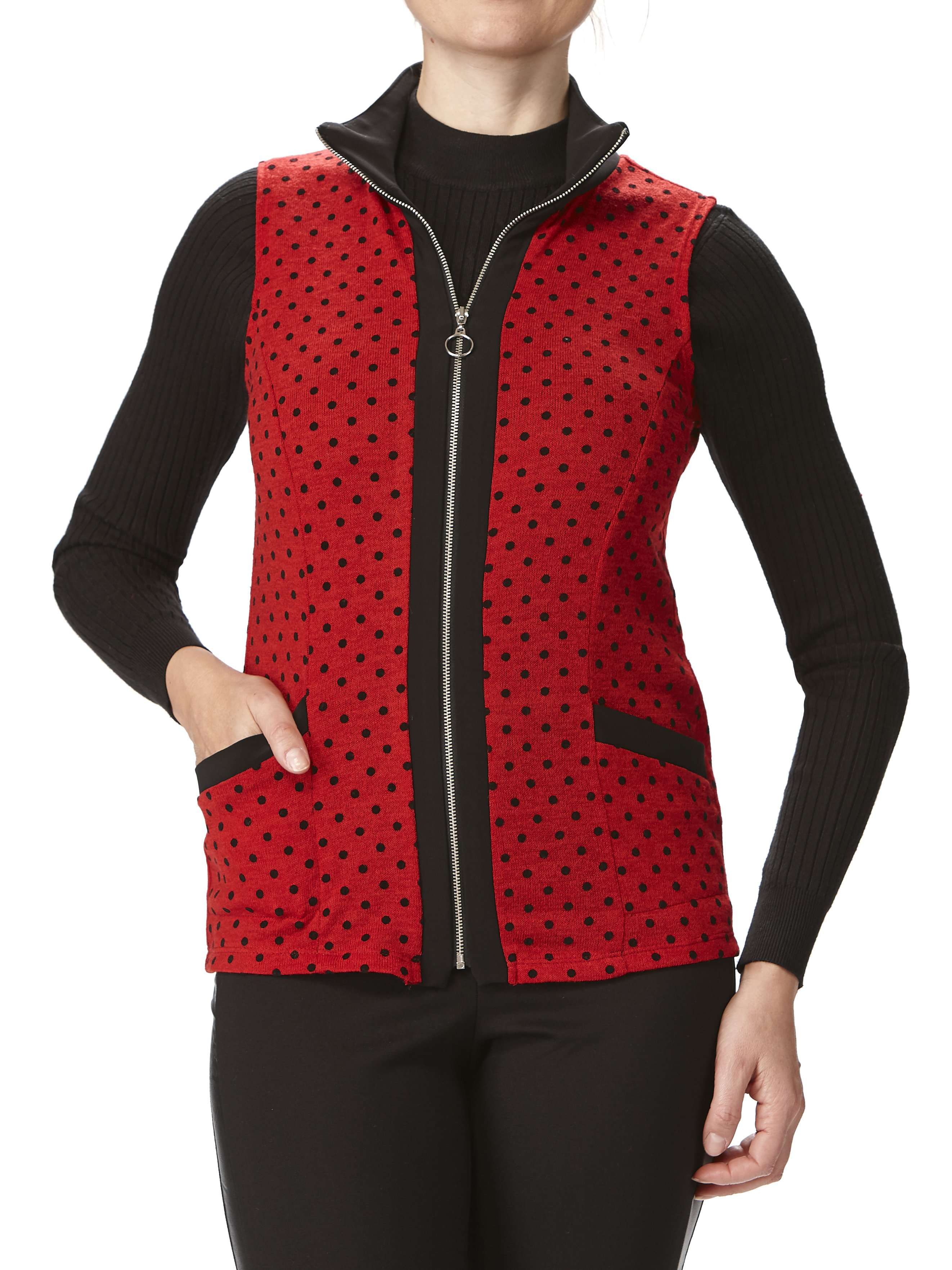 Women's Sleeveless Vest-Red - Made In Canada - Yvonne Marie - Yvonne Marie