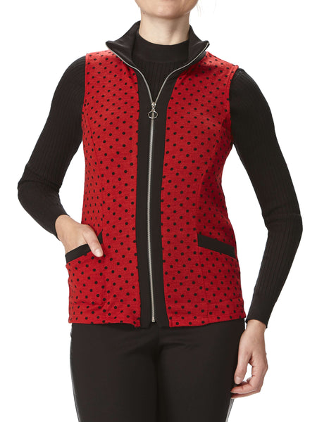 Women's Sleeveless Vest-Red - Made In Canada
