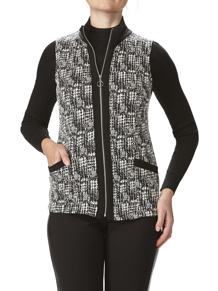 Women's Sleeveless Vest - Black Texture Fabric - Made In Canada