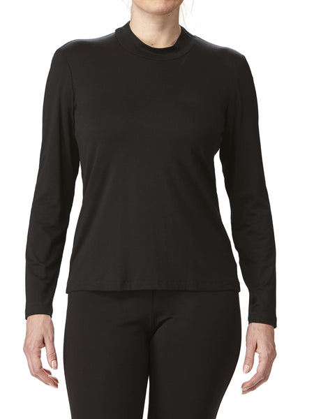 Women's Black Mock Neck Top On Sale - Made In Canada