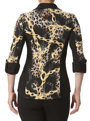 Women's Gold And Black Blouse - Made In Canada - Yvonne Marie - Yvonne Marie