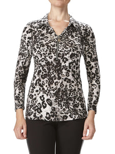 Women's Animal Print Blouse - Made In Canada - Yvonne Marie - Yvonne Marie