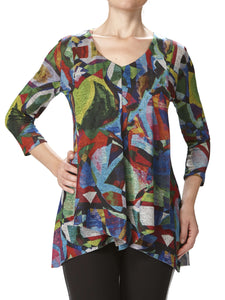 Women's Multi Color Flyaway Tunic Flattering Design - Made in Canada - Yvonne Marie - Yvonne Marie